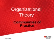 Topic 10 - Semester 2 (2015) Communities of Practice
