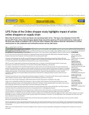 UPS Pulse of the Online shopper study highlights impact of active online shoppers on supply chain.pd