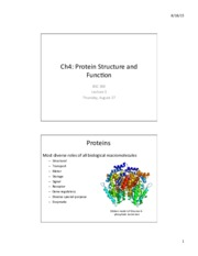 Lecture 3- Aug 27 Protein Structure and Function