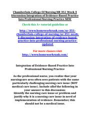 Chamberlain College Of Nursing NR 351 Week 3 Discussion Integration of Evidence.doc