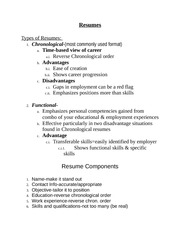 Resumes, Cover Letters, Interview Skills Notes