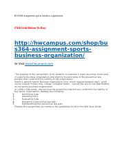 BUS364 Assignment sports business organization copy.docx