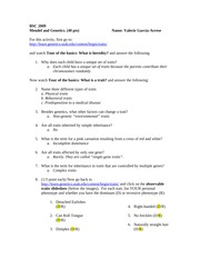 Mendelian Genetics Worksheet By C Kohn: Genetics and Inheritance Quiz docx   Question1 1 1pts,
