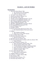 Exam 1 Study Guide-List of Works