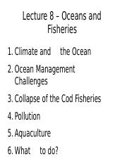 Lecture 8 - Oceans and Fisheries - A2L