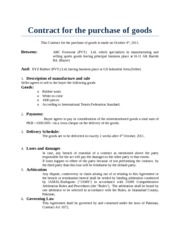 Contract for the purchase of goods
