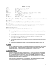 Sport Administration Syllabus