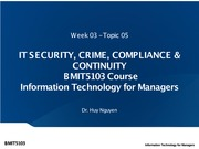 Week 03 - Topic 05 - IT Security, Crime, Compliance & Continuity