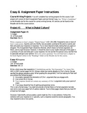 Essay  Assignment paper Instructions (UPDATE)