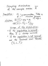 Sample Distribution of Sample Mean Notes