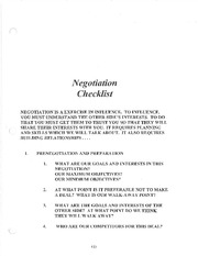 Negotiations Checklist