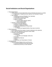 ISS 215 Social Institutions and Social Organizations Notes