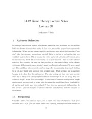 MIT Game Theory Notes on Lecture 12