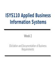 Lecture (Week 2)- Elicitation and Documentation of Business Requirements