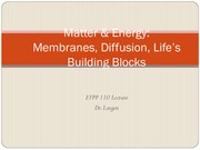 EVPP 110 Lecture - Matter and Energy - Membranes Diffusion Lifes Building Blocks - Student - Summer