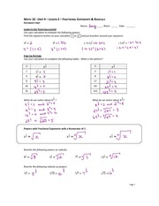 Fraction Exponents Notes