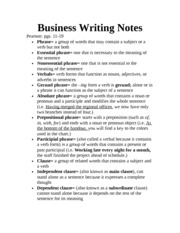 Business Writing Notes