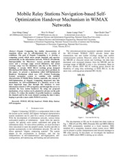 Mobile Relay Stations Navigation-based Self-Optimization Handover Mechanism in WiMAX Networks