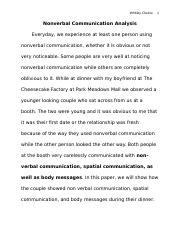 Nonverbal Communication Buffet Assignment Draft_Chelcie Whitley