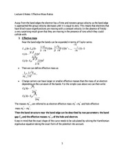Lecture 6 Notes Effective Mass Ratios