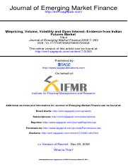 Mispricing, Volume, Volatility and Open Interest - Evidence from Indian Futures Market