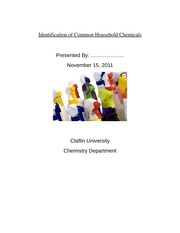 Lab Report: Identification of Common Household Chemicals
