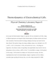 8 - Thermodynamics of Electrochemical Cells