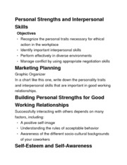 Intro to Marketing-Chapter 10 Personal Strengths and Interpersonal Skills