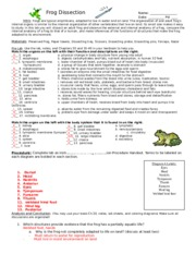 Worksheets Frog Dissection Worksheet Answer Key frog dissection worksheet with answers 2 name this is the end of preview sign up to access rest document unformatted text dissection