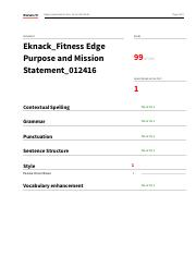 Eknack_Fitness Edge Purpose and Mission Statement Grammerly Report_012416