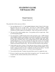 Stat 212 Fall Semester 2012 Exam I Answers