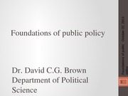 PSCI 2401A - Week 7 - Foundations of public policy - 2013-10-22