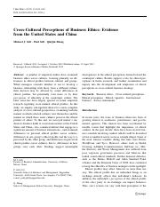 Cross-Cultuarl Perceptions of Business Ethics_ Evidence from the United States and China