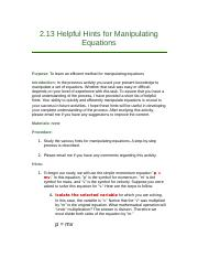 2.13 Helpful Hints for Manipulating Equations.docx