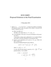 ECO 2400 Fall 2010 Sample Final Exam Solutions