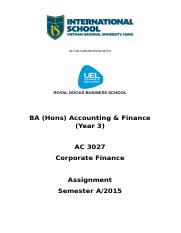 Assignment - Corporate Finance (AC 3027) - 2015 - main - revised.doc