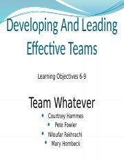 CH7 Dev & Lead Effective Teams LO6-9_Team Whatever