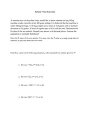 Practice Problems Sample T