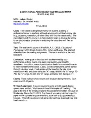 Ed Psych syllabus Fall 2013