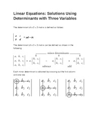 Linear Equations- Solutions Using Determinants with Three Variables