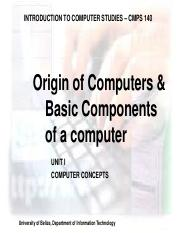 Basic_Components of a Computer Memory Hardware Software  Data Representation