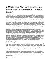 A Marketing Plan for Launching a New Fresh Juice Named.docx