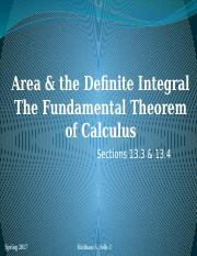 The Fundamental Theorem of Calculus Section 13.4 (1)