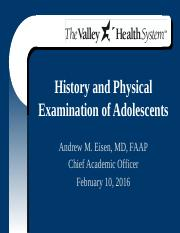 PD H  P of Adolescents 2-10-2016