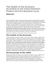 The Health of the Economy According to the Gross Domestic Product and the Business Cycle.docx