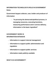 INFORMATION TECHNOLOGYS ROLE IN GOVERNMENT Notes