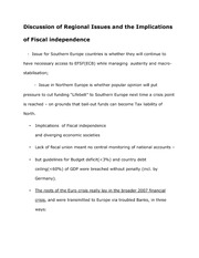 Notes on The Discussion of Regional Issues and the Implications of Fiscal independence