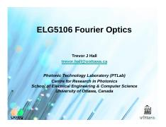 ELG5106 Fourier Optics Ch4 Properties