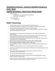Foundations of Finance -  Sources & Valuation of long term funds (Notes)