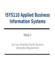 Lecture (Week 4)- Use Case Modelling Tool for Business Information Requirements